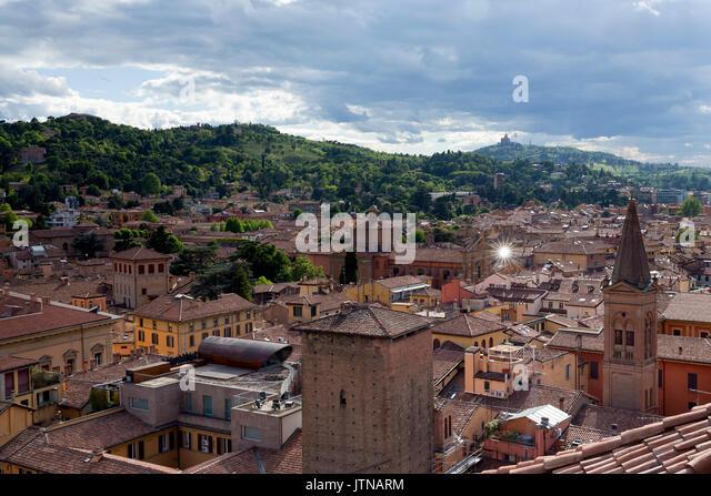 Rooftop view  towards Basilica Santuario della Madonna di San Luca,  Bologna, Emilia-Romagna region, Italy - Stock Image