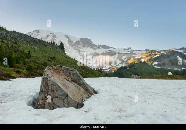 Rock Emerges from Snow in Alpine Meadow with Rainier looming behind - Stock Image