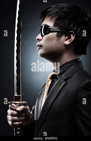 Cool japanese with samurai sword fashion. - Stock-Bilder