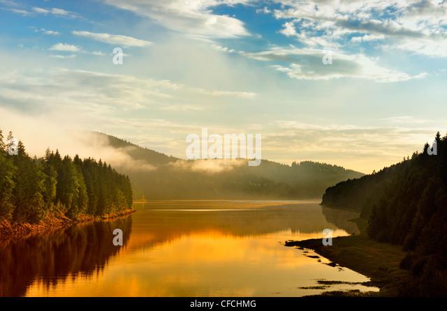 Golden sunbeam shine through the Sösestausee in Harz,Germany. - Stock-Bilder