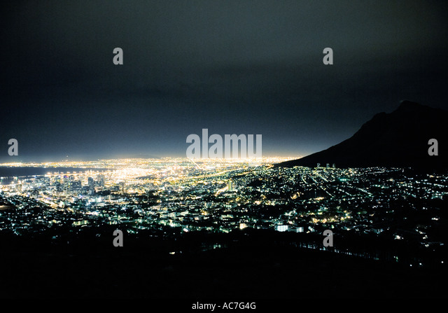 Cape Town and Table Mountain night shot from an aeroplane window - Stock Image