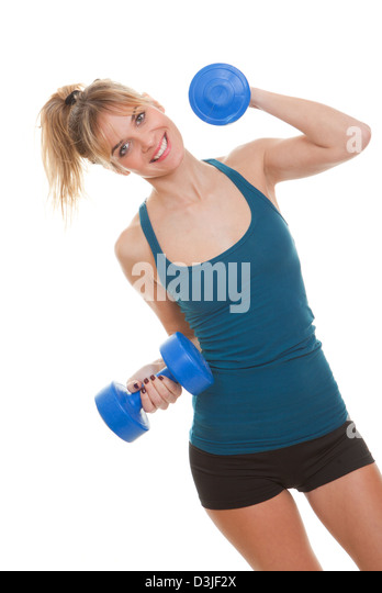exercise woman, exercising with weights - Stock Image