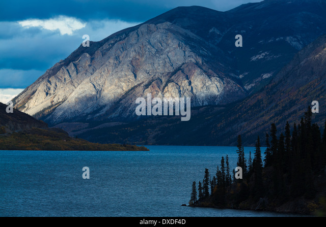 Escarpment Mountain on Lake Tagish near Carcross, Yukon Territories, Canada - Stock Image