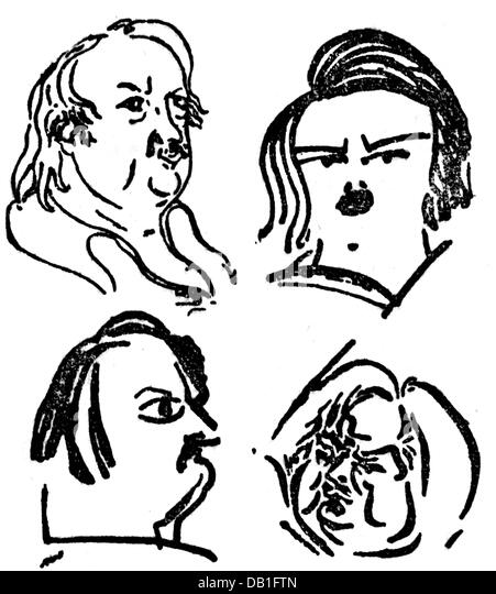 Balzac, Honore de, 20.5.1799 - 18.8.1850, French author / writer, portrait, four caricatures, graphic, graphics, - Stock-Bilder