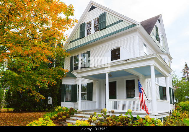 Typical New England home in Stowe, Vermont, United States - Stock Image