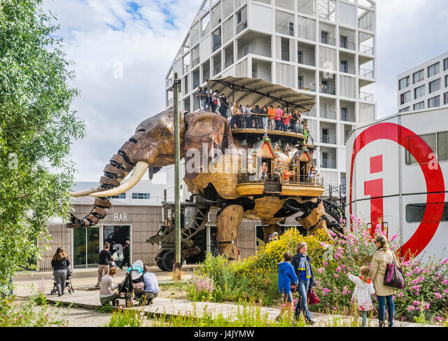 France, Pays de la Loire, Nantes, Machines of the Isle of Nantes, The Grand Elephant is the most popular attraction - Stock-Bilder