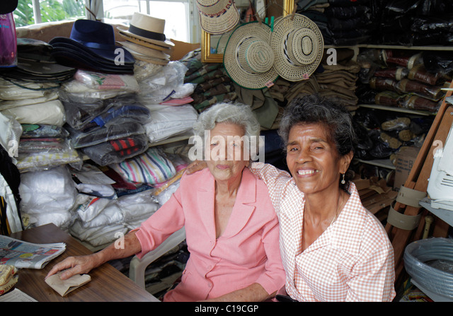 Panama City Panama Ancon Mercado Público Public Market store small business owner manager retail selling shopping - Stock Image