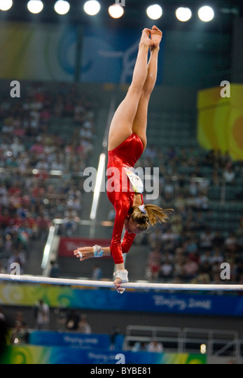 Nastia Liukin (USA) competing in the gymnastic qualification competition at the 2008 Olympic Summer Games, Beijing, - Stock Image
