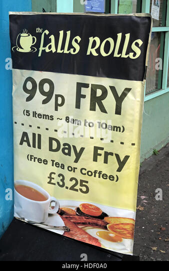 Belfast Falls Rd - Falls Rolls Cafe, the 99p Fry - Stock Image