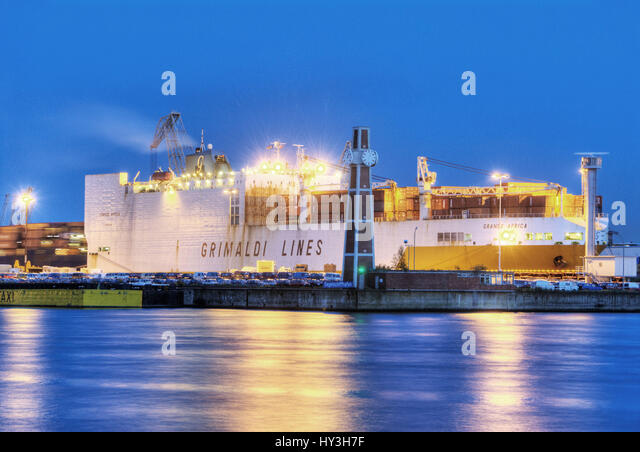 ConRo ship grandee Africa of the Grimaldi Lines in the QUAY O?'SWALD in Hamburg, Germany, Europe, ConRo-Schiff - Stock Image
