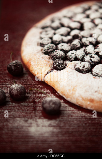 Homemade cherry focaccia - Stock Image