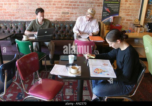 Albuquerque New Mexico Knob Hill Satellite Coffee House students study W - Stock Image