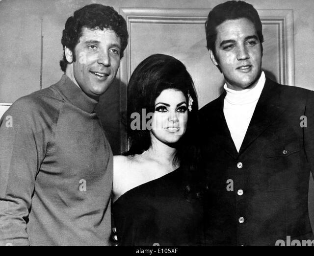 Singers Elvis Presley, Tom Jones and Priscilla Presley - Stock Image