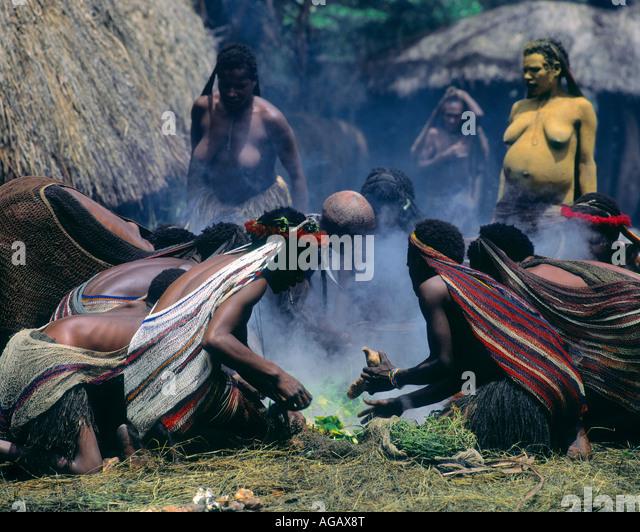 Dani tribesman, Irian Jaya, Indonesia - Stock Image