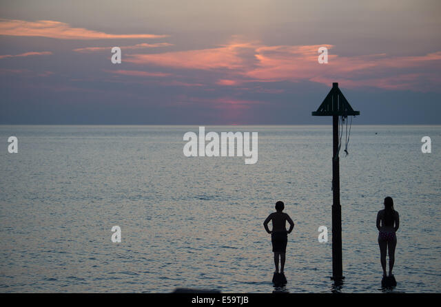 Aberystwyth, Wales, UK. 24th July, 2014. Sunset, twilight over Cardigan Bay Aberystwyth on the west Wales coast, - Stock Image
