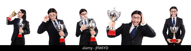 Businessman awarded with prize cup isolated on white - Stock Image