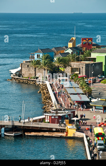 Aerial view of the Curacao Renaissance plaza Otrobanda side of Willemstad, Curacao pedestrian shopping mall - Stock Image