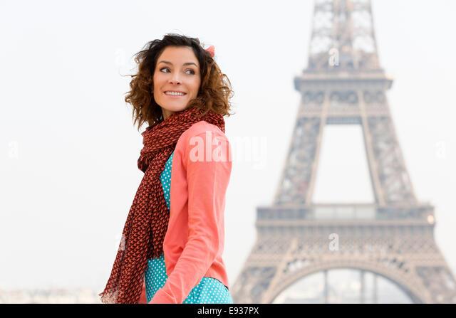 Portrait of woman in Paris - Stock-Bilder