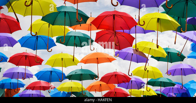 View of Multiple Umbrellas on Display in Bath, England, UK - Stock Image