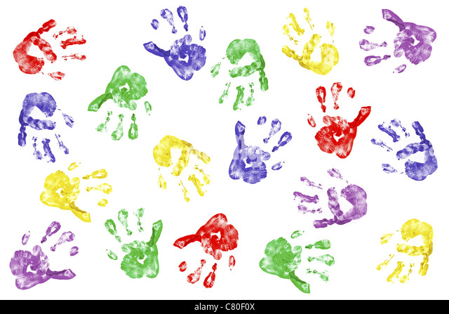 Kids handprints with fingerpaint isolated on white - Stock Image