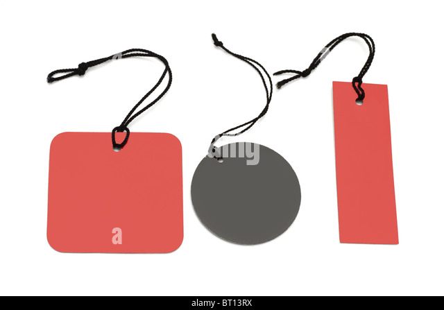 Assorted shape price labels with black strings on white background - Stock Image