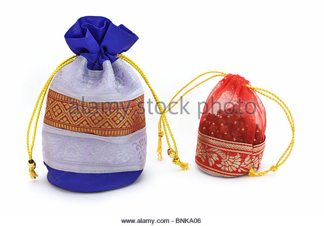 decorative bags for jewelry on a white background - Stock Image