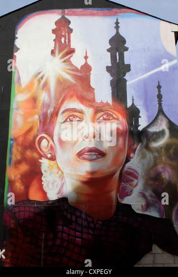 Fresco commemorating Aung San Suu Kyi's visit to Brighton - Stock-Bilder
