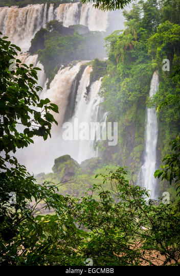 Iguazu Falls are waterfalls of the Iguazu River on the border of Argentina and Brazil - Stock Image