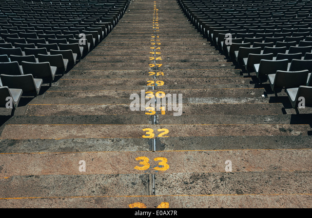 Spain, Catalunya, Barcelona, Old olympic stadium, Steps with numbers - Stock Image