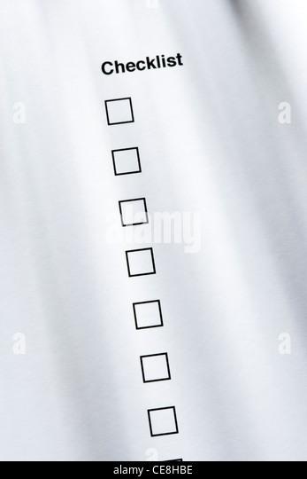 Checklist, none ticked - Stock-Bilder