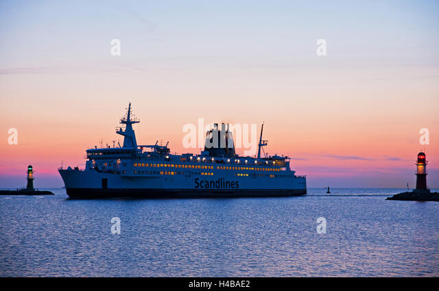 Arriving ferry in Rostock-Warnemünde - Stock Image