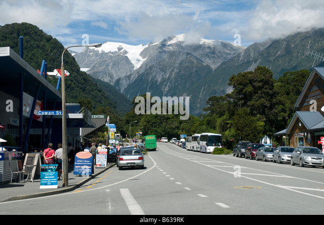 Street scene in Franz Josef village, South Island, New Zealand - Stock Image