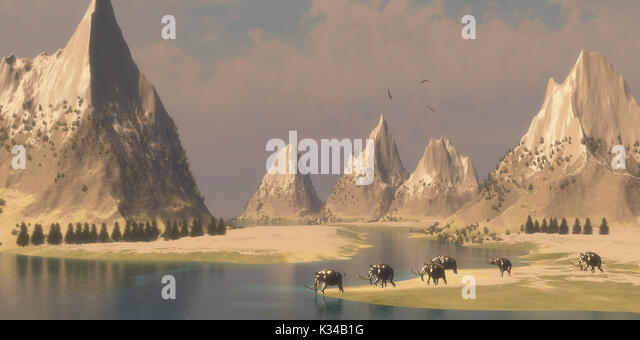 Bald Eagles fly overhead looking for fish as a herd of Woolly Mammoths come down to a river for a drink. - Stock Image