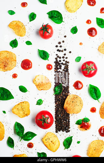 Chips Pattern: bell pepper - Stock Image
