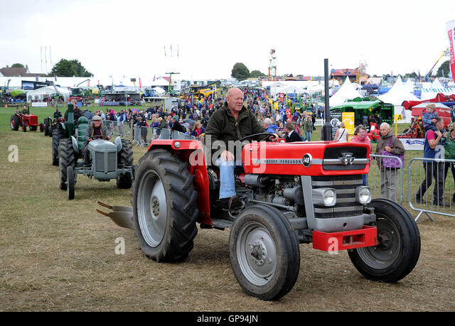 Vintage tractor display at 'Dorset County Show', UK - Stock Image
