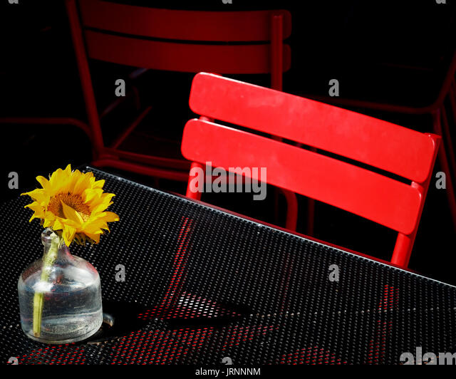 Artistic angle of a single red chair at an unoccupied restaurant table with a single freshly cut sunflower in a - Stock Image