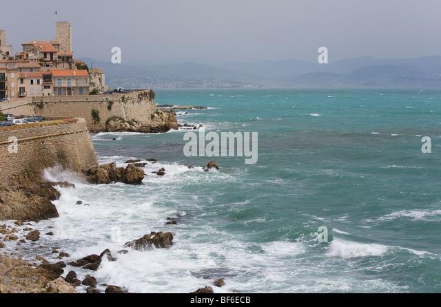 Cityscape, City Wall, Castle Grimaldi, Antibes, Cote D Azur, Provece, France - Stock Image