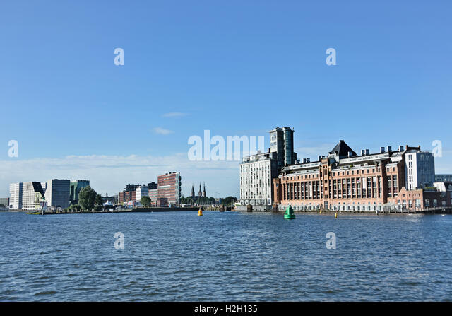 Amsterdam Netherlands modern architecture Apartments on Westerdoksdijkand between Oude Houthaven  and IJ port Harbor - Stock Image