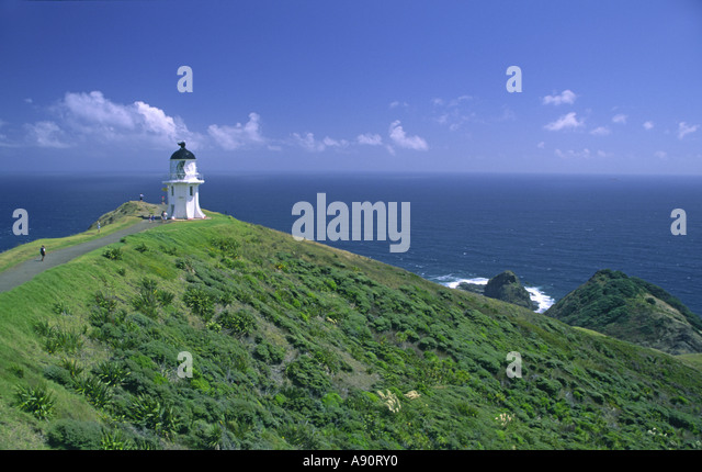 New Zealand Cape Reinga viewpoint lighthouse - Stock Image