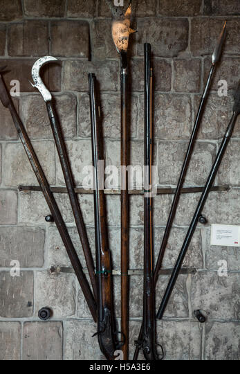 Weapons, Bamburgh Castle, Bamburgh, England, United Kingdom - Stock Image