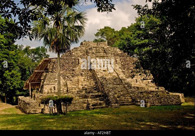 Costa Maya Chacchoben Mayan ruin Pyramid las vasijas - Stock Image