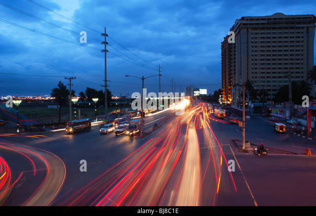 Car trails; Manila; Philippines - Stock Image