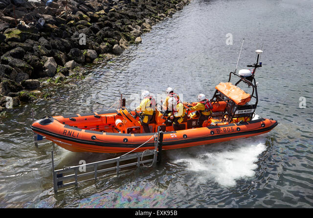 RNLI inshore lifeboat Jessie Hillyard launching Bangor county down northern ireland uk - Stock Image