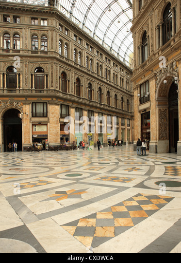 Low angle view of the interior of the Galleria Umberto I, Naples, Campania, Italy, Europe - Stock Image
