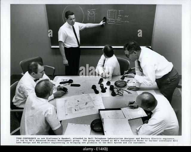 Apr. 18, 2012 - TEAM CONFERENCE on new Craftsman's Handset, attended by Bell telephone Laboratories designer - Stock Image