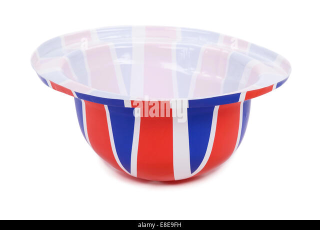 Upside down plastic Union Jack flag hat - Stock Image