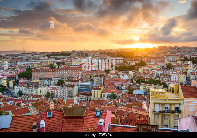 Lisbon, Portugal old town skyline at sunset. - Stock Image