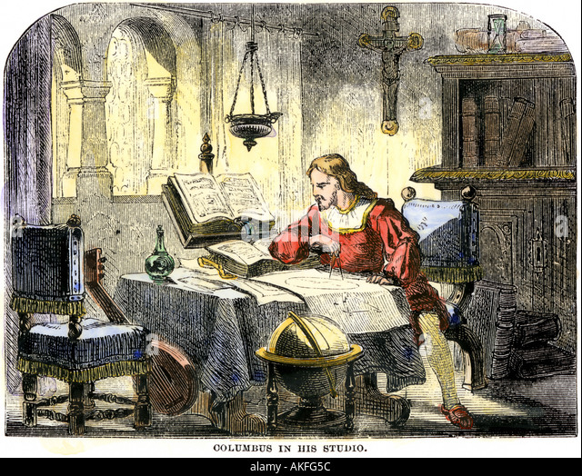 Christopher Columbus studying a map in his studio in Spain 1400s - Stock Image