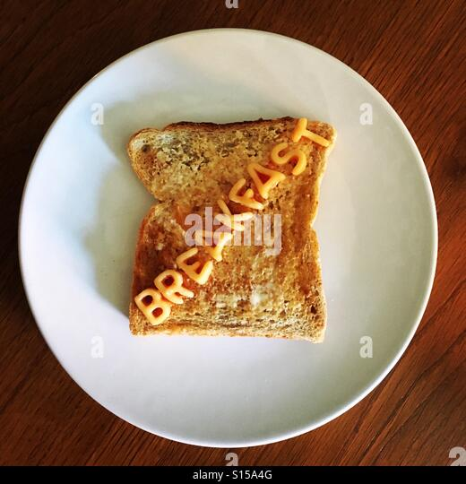 Alphabetti spaghetti on toast for breakfast - Stock-Bilder