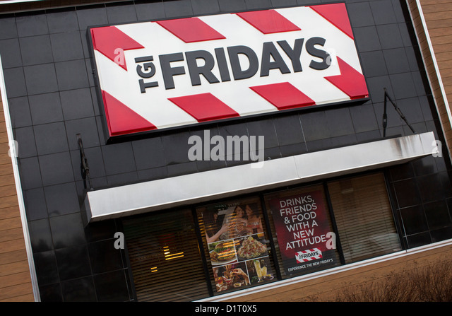 T.G.I. Friday's is an American chain restaurant known for its weekend-like atmosphere and inventive dishes, such as the Jack Daniel's Grill. Their trademark decor includes Tiffany lamps, brass railing, red stripes and Rock N' Roll memorabilia.